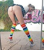 Rainbow socks selfie