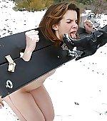 Licking snow off