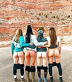 Four girls mooning