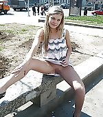 Cute girl exposes