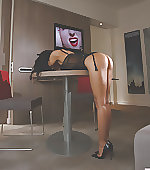 Bent over the table