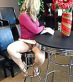Blonde wife upskirt